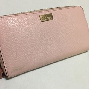 Kate Spade Baby Pink Zip Around Leather Wallet